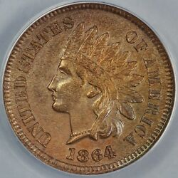 1864 1c With L Indian Head Cent Anacs Au 58 Details Cleaned