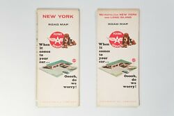 2 Vintage Maps Nyc Long Island Ny State By Flying A Service
