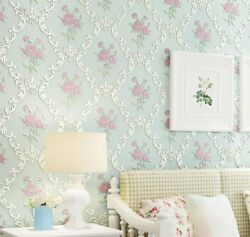 Embossed Rose Floral Contact Paper Self Adhesive Non Woven Wallpaper Wall Decor