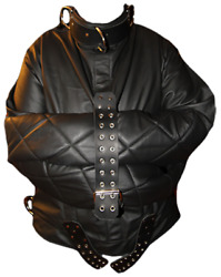 All leather XL custom Straight Jacket by Monkey Dungeon padded raised collar