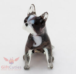 Art Blown Glass Figurine of the French Bulldog sitting waiting for food dog