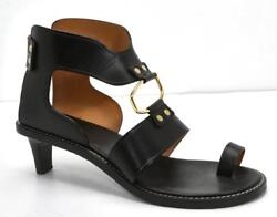 Isabel Marant Womens Teony Black Smooth-leather Gold Open-toe Heel Sandals 845