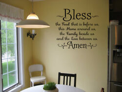 BLESS THE FOOD BEFORE US AMEN RELIGIOUS DINING ROOM WALL DECAL KITCHEN VINYL