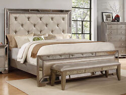 NEW Cal.King Size Bed Synthetic Silk Head & Footboard Metal Side Rails Mirrored