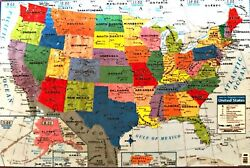 United States Wall Map by Teacher Tree Poster Size Full Color 40 x 28 inches