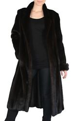 LargeMedium DARK MINK FUR COAT! Long Sleeves Roll-up Cuffs! w FUR STORAGE BAG