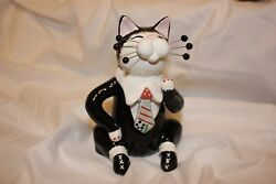 Whimsiclay Figurine quot;STEPPING OUTquot; dapper cat #86002 retired 2003 w box amp; tag