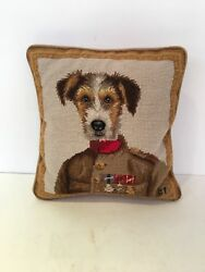 11x11 Jack Russell Terrier in Sweater Needlepoint Pillow