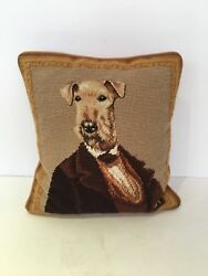 10x10 Suited Terrier Needlepoint Pillow