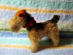 Darling old mohair Terrier dog (WIRE HAIR ? )  with cloth tag on leg***