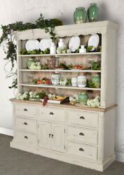 Farmhouse Buffet and Hutch White Distressed Painted with Natural AF