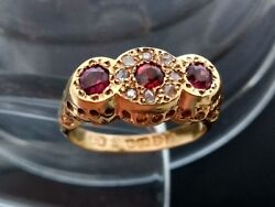 Antique Victorian Or Edwardian 18ct Gold Garnet And Diamond Ring. Ring From 1909