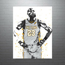 Lebron James Gray Jersey Cleveland Cavaliers Poster Free Us Shipping