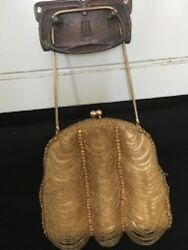 Vintage Gold Beaded and Rhinestone Evening Bag Saks Fifth Avenue Price Reduced