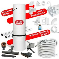 Powerful Home Central Vacuum Power Unit 30' Hose Tools Installation Kit 80' pipe
