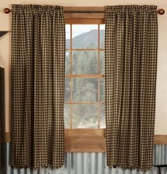 63 Long Black Check Country Farmhouse Lined Curtains 100 Cotton With Khaki Tan