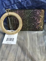HOBO International GEMMA Iridescent Exotic Genuine Leather Wallet Clutch $78.00