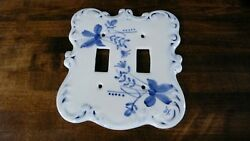 Vtg. Ceramic Double Switch Plate Cover Flower  Blue & White Made by Levine Inc.