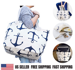 Large Canvas Tote Bag for Women Tote Shopping Bag with Zipper Rope Handle JJMG $12.25