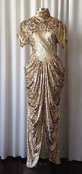 Stunning Vicki Tiel Couture Gold Evening Dress $1200.00