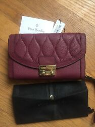 Vera Bradley Ultimate Wallet Claret Genuine Leather NWT Free Shipping