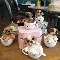 Terrier in cup Puppy Dog Teacup series Pet Pal Mini Figurine home Statue
