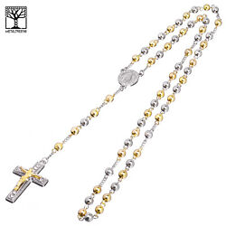6 mm Bead Rosary G S Plated Guadalupe amp; Jesus Cross 28quot; Necklace HR 600 SG