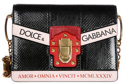 DOLCE&GABBANA WOMEN'S LEATHER SHOULDER BAG NEW ORIGINAL LUCIA BLACK 998