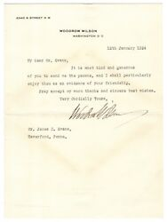 Woodrow Wilson - Typed Letter Signed In Jan 1924 - Sent 22 Days Before His Death