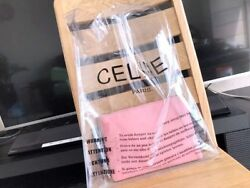 Authentic Celine 2018 Clear Plastic Shopping Bag With Pink Zip Pouch Wallet
