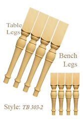 Clasic 2 Sets Of Unfinished Handmade Pine Wood Turned Dining Table/bench Legs