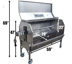 59 Charcoal Spit Roaster Rotisserie 301 Stainless Bbq Pig Lamb Home Delivery