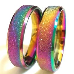 36 Rainbow Unisex Quality 316l Stainless Steel Band Charm Rings Wedding Jewelry