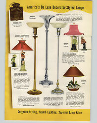 1950 Paper Ad 4 Pg Mitchell Deluxe Floor Table Lamps Hand Painted Chinese Figure