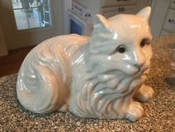 Persian Cat State With Decretive Crackled Glaze Finish Marked