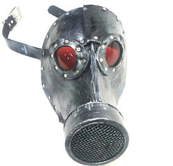 Leather Gas Mask Steampunk Post Apocalyptic Burning Cosplay Man Gears