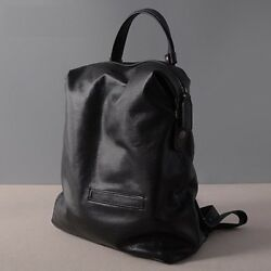 Black Fashion Women Backpack Laptop Real Cow Leather Schoolbag For Girl Female