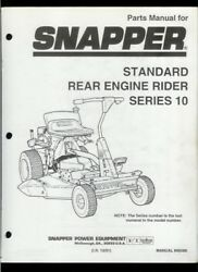 Snapper Series 10 Standard Rear Engine Riding Mower Illustrated Parts List