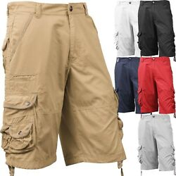Mens Cargo Shorts Casual Multi Pocket Short Twill Cotton Pants Summer Big Size $23.99