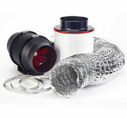 Hydroponic Fox Carbon Air Filter Twin Speed Fan And Ducting Kit 100mm 4