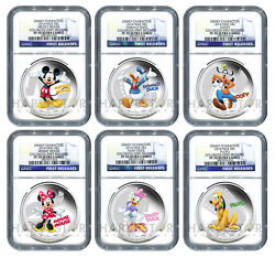 2014 Disney Mickey And Friends - Complete 6-coin Set - Ngc Pf70 First Releases