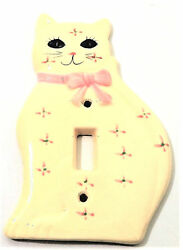 Cat Kitty Kitten Porcelain Single Light Switch Plate Cover White wPink Accents