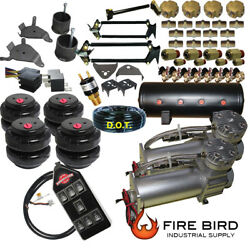 D Chevy S10 Air Kit Dual Compressor 25 And 26 Bags 3/8 Valves 3-gal Tank7 Switch