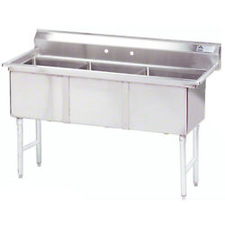 Advance Tabco 3 Compartment Sink 18x24x14 Size Bowl Stainless Steel