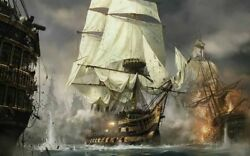 Gifts For Him Home Artwork Wall Decor Pirate Ship Oil Painting Printed On Canvas