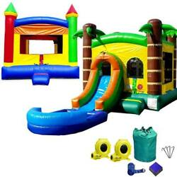 Inflatable Bounce House Combo Wet Dry Slide Pool Rainbow And Tropical Island Duo