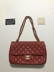 CHANEL Authentic Lamb skin Red Gold Quilted 2.55 Medium Large Single Flap $5300