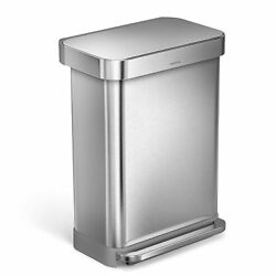 simplehuman 55 Liter14.5 Gallon Stainless Steel Rectangular Kitchen Step Trash