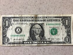 Solid First Quad 8888 Five Of A Kind In 1 Dollar Bill Fancy Serial Number Note