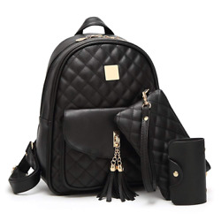 Women#x27;s Simple Design Fashion Quilted Casual Backpack Leather Backpack for Women $33.99